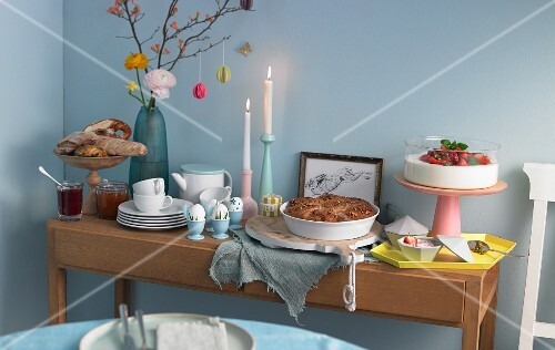 An Easter buffet with bread, eggs, cakes and dessert