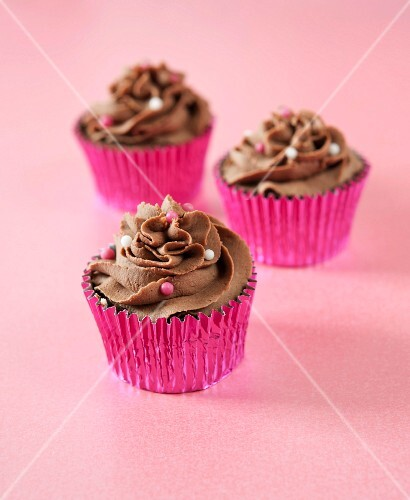 Chocolate cupcakes with coloured sugar pearls
