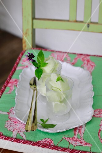 Basil ice cream with fresh mint