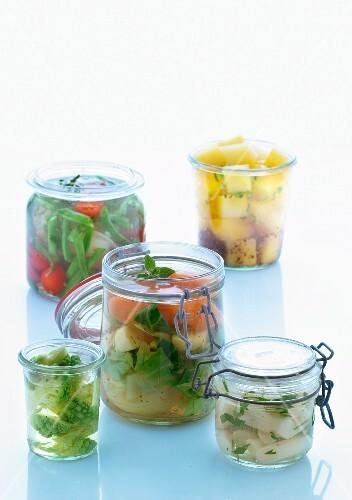 Various vegetables in preserving jars