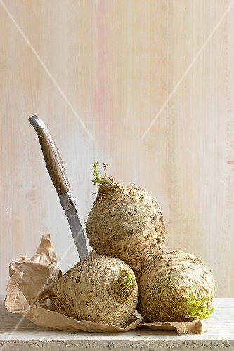 Celeriac with a knife