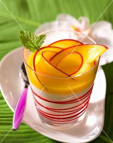 Mango and coconut custard in a desert class