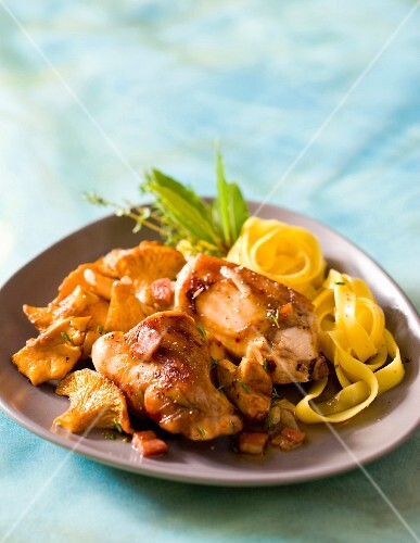 Rabbit with chanterelle mushrooms and tagliatelle