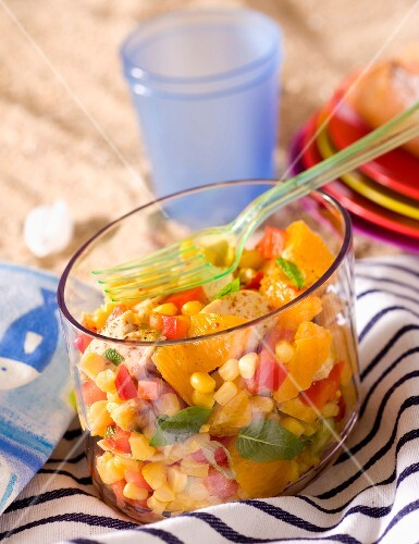 Chicken salad with orange and sweetcorn