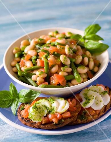 Bean salad with cod bruschetta