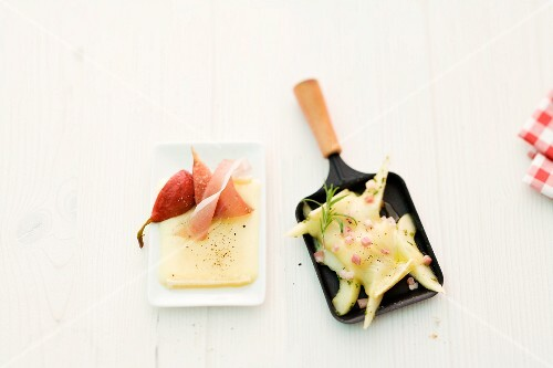 Raclette with Port wine pears and Prosciutto ham