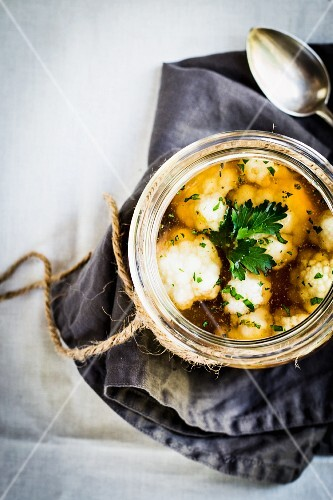 Beef broth with cauliflower and parsley