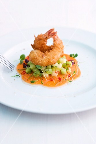 Sweet-and-sour pumpkin medley with prawns