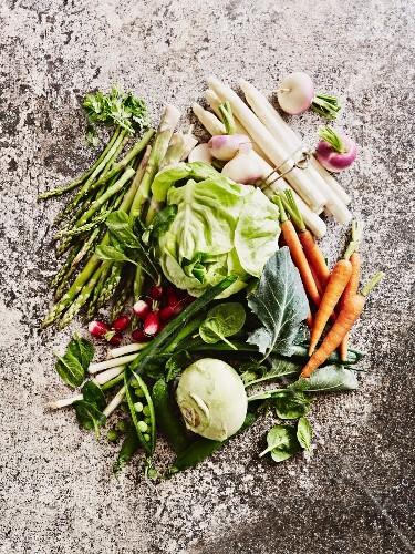 An arrangement of spring vegetables