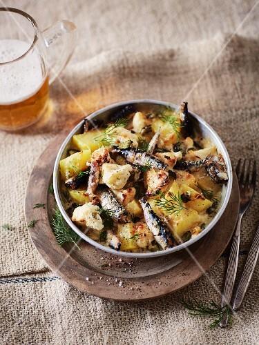 Cauliflower and potato bake with sardines