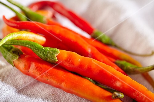 Red chilli peppers (close-up)