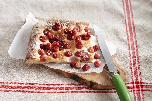 Schiacciata (Italian unleavened bread) with cherries