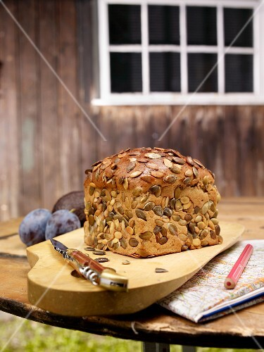 Pumpkin seed bread on a rustic garden table
