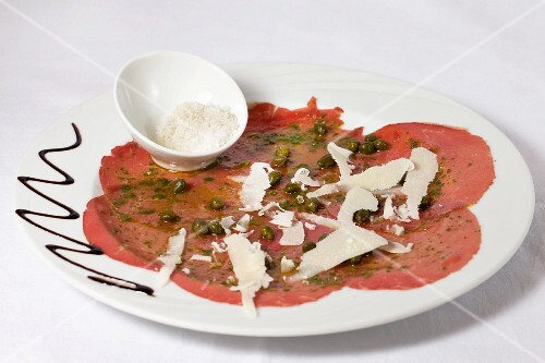 Beef carpaccio with capers and parmesan