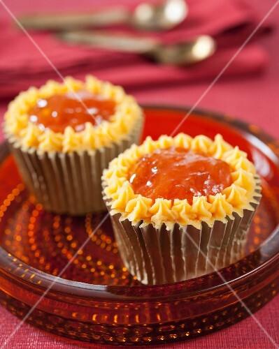 Apricot jam cupcakes