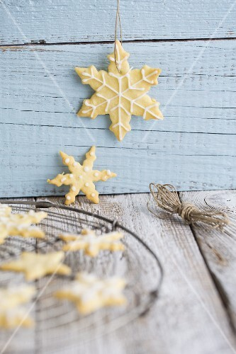 Iced snowflake biscuits for Christmas