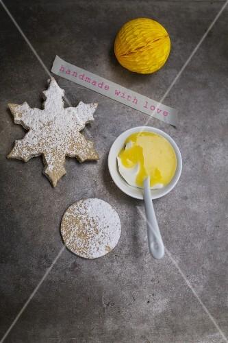 Lemon curd with biscuits and crème fraîche