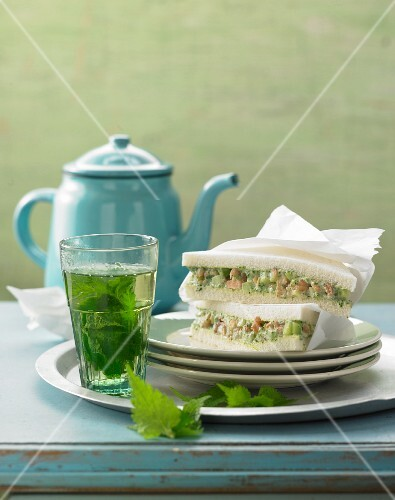 Tramezzini with stinging nettle mayonnaise, cucumbers and North Sea shrimps
