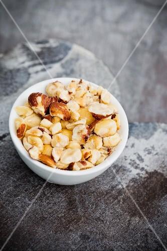 A bowl of chopped hazelnuts