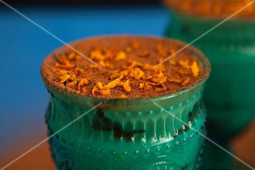 Orange tiramisu in an old-fashioned jar