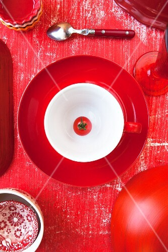 A view from above of a red place setting