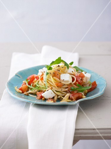 Spaghetti with rocket, tomato, buffalo mozzarella and pine nuts