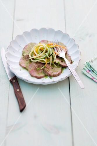 Veal fillet with vegetable linguine
