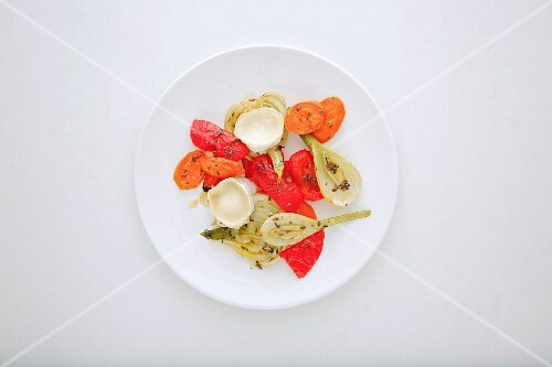 Oven-roasted vegetables with goat's cheese and lavender