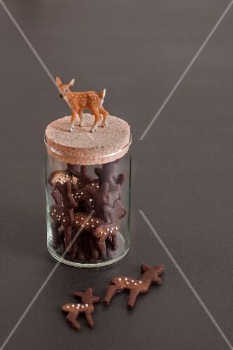 Deer-shaped biscuits in storage jar decorated with deer figurine