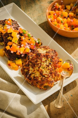 Chicken and courgette fritters served with nectarine salsa