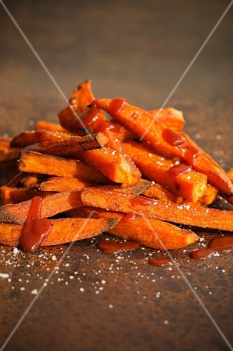 Homemade, oven-baked sweet potato chips
