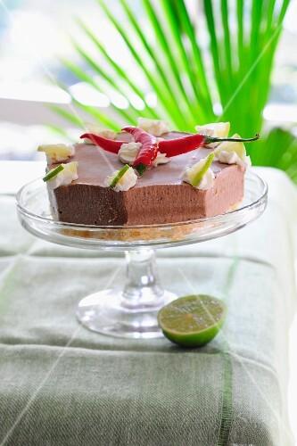 Chocolate ice cream cake with chilli