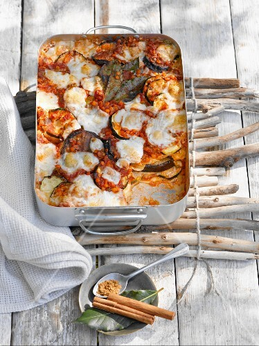 Lasagne with aubergines and lentils