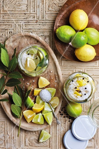 Lemons and limes preserved in salt (seen from above)