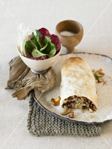 Mushroom strudel with a cranberry filling
