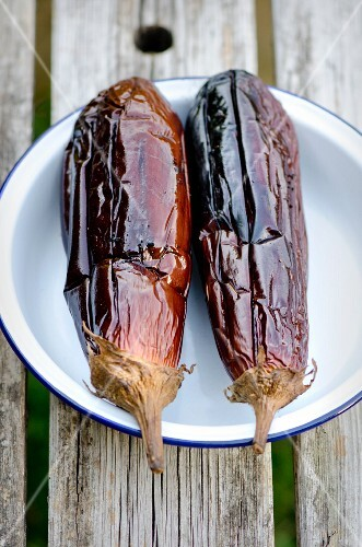 Two grilled aubergines