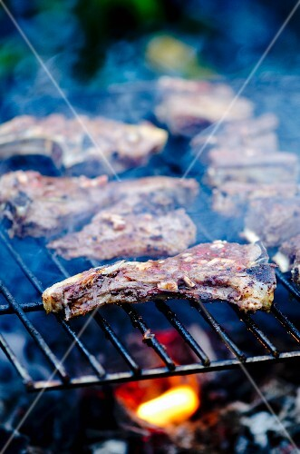 Lamb chops on a barbecue