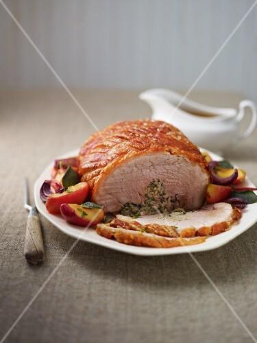 Crispy roast pork filled with herbs