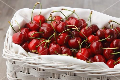Cherries in a white basket