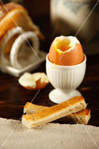 A boiled egg with soldiers