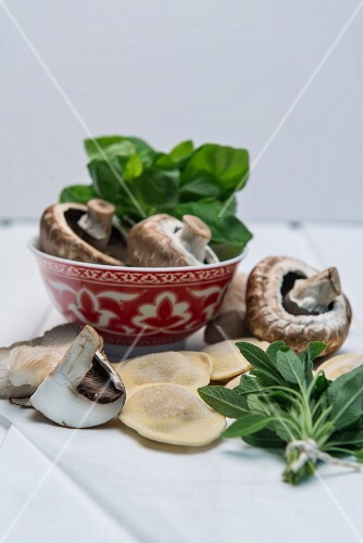 An arrangement of ingredients with ravioli, mushrooms and herbs