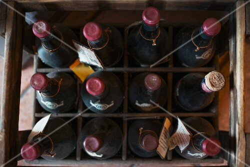 A crate of old wine bottles (seen from above)