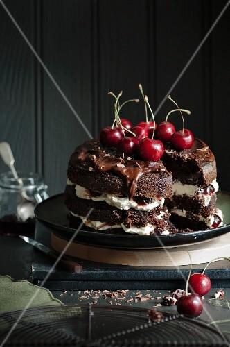 A sliced Black Forest Gateau