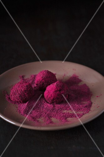 Beetroot and chocolate truffles rolled in beetroot powder