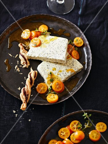 Poppyseed parfait with thyme kumquats