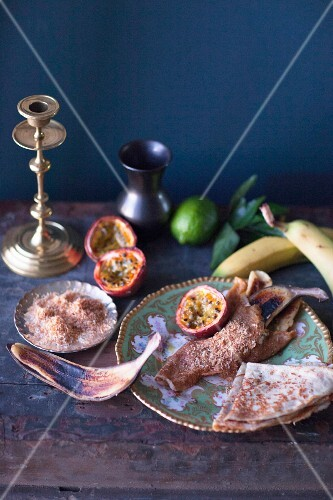 Crepes with grilled passion fruit, bananas and roasted, grated coconut