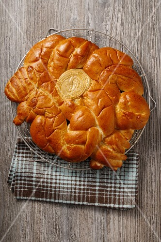 A loaf of brioche with a seal