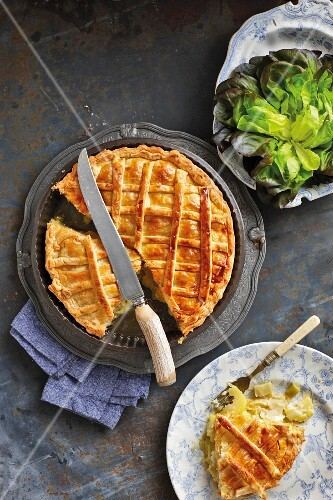 Vegetable pie with leek, potatoes and Cheddar cheese