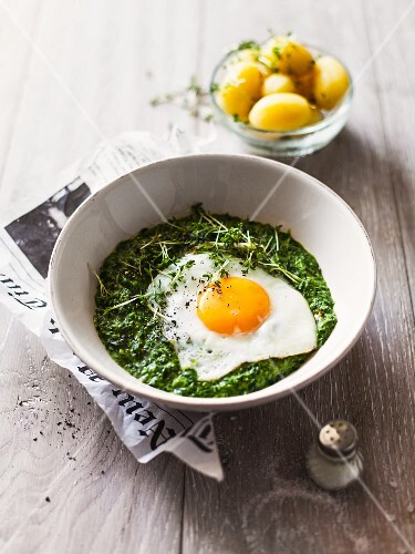 Fried egg and creamy spinach with new potatoes