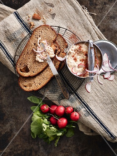 Obatzter cheese with brown bread and radishes